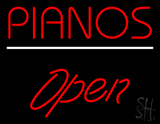 Pianos Open White Line LED Neon Sign
