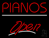 Pianos White Line Open LED Neon Sign
