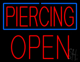 Red Piercing Blue Border Block Open LED Neon Sign