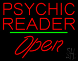 Psychic Reader Green Line Open LED Neon Sign