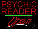 Psychic Reader Open Green Line LED Neon Sign