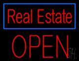 Real Estate Blue Border Block Open LED Neon Sign