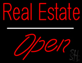 Real Estate Open White Line LED Neon Sign