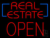 Red Real Estate Block Open Neon Sign