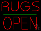 Rugs Block Open Green Line LED Neon Sign