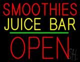 Smoothies Juice Bar Block Open Green Line LED Neon Sign