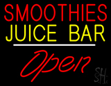 Smoothies Juice Bar Open White Line LED Neon Sign
