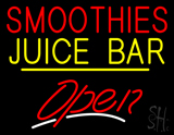 Smoothies Juice Bar Open Yellow Line LED Neon Sign