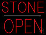 Stone Block Open White Line LED Neon Sign