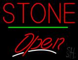 Stone Script2 Open Green Line LED Neon Sign