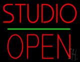 Studio Open Block Green Line LED Neon Sign