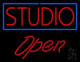 Red Studio Open Blue border LED Neon Sign