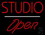 Studio Open White Line LED Neon Sign