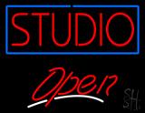 Studio Blue Border Open LED Neon Sign