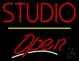 Red Studio Open Yellow Line LED Neon Sign