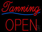 Cursive Red Tanning Block Open LED Neon Sign