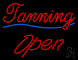 Cursive Red Tanning Blue Waves Open LED Neon Sign