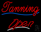 Red Cursive Tanning Open LED Neon Sign