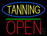 Oval Blue Border Tanning Block Open Green Line LED Neon Sign