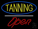 Yellow Tanning Oval Blue Border Open White Line LED Neon Sign