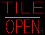 Tile Block Open Green Line LED Neon Sign