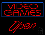 Video Games Blue Border Open LED Neon Sign
