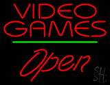 Video Games Open Green Line LED Neon Sign