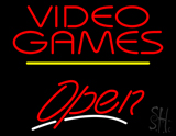 Video Games Open Yellow Line LED Neon Sign