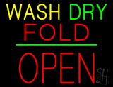 Wash Dry Fold Block Open Green Line LED Neon Sign