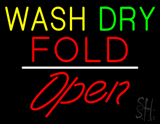 Wash Dry Fold Open White Line LED Neon Sign