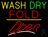 Wash Dry Fold Open Yellow Line LED Neon Sign
