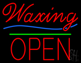 Waxing Block Open Green Line LED Neon Sign