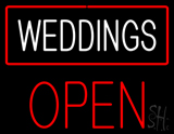 Weddings Block Open Red LED Neon Sign