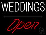 Weddings Open White Line  LED Neon Sign