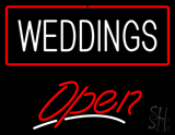 Weddings White Open red LED Neon Sign