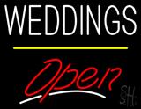 Weddings Open Yellow Line LED Neon Sign