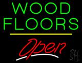 Wood Floors Script2 Open Yellow Line LED Neon Sign