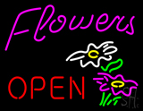 Pink Flowers Logo Red Open LED Neon Sign