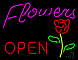 Pink Flowers Logo Open LED Neon Sign