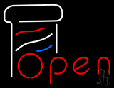 Open Barber pole LED Neon Sign