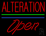 Red Alteration Blue Green Line Slant Open LED Neon Sign