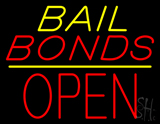 Yellow Bail Bonds Block Open LED Neon Sign