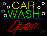 Car Wash Blue Line Open LED Neon Sign
