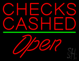 Red Checks Cashed Green Line Open LED Neon Sign