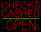 Red Checks Cashed Block Open LED Neon Sign
