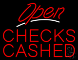 Red Open White Line Checks Cashed LED Neon Sign