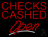 Red Checks Cashed Open LED Neon Sign