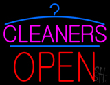 Pink Cleaners Block Red Open Logo LED Neon Sign