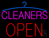 Pink Cleaners Block Open LED Neon Sign