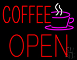 Red Coffee Open Block Logo LED Neon Sign